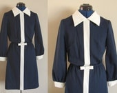 Jerry Lurie Navy Blue & White Vintage Dress