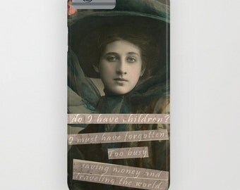 Feminist Cell Phone Case, Victorian Photo Collage Art, Childfree iPhone 7, iPhone 6S, Galaxy 4 Phone Cover