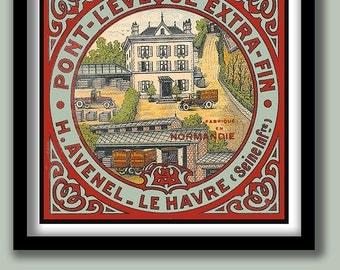 Vintage French Cheese Label. Art Nouveau Style. Square print. 30x30 cm. Vintage label prints. Kitchen wall art. French decor. Old label .