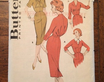 8702 1950's Wiggle Dress FACTORY FOLDED Vintage Sewing Pattern Butterick 8702 Bust 42
