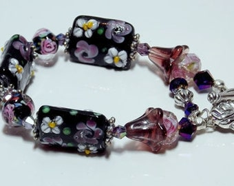 Black and Purple Floral Lampwork Bracelet