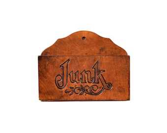 Junk Box, Wooden Wall Caddy, Hand Carved Wood Wall Organizer, Wall Mail Holder
