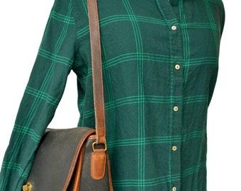 Vintage Black with Brown Trim Leather COACH Bag, 70's Black Brown COACH Purse