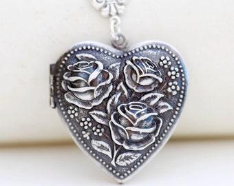 Locket Necklace,Rose Flower Heart Locket,Cherry Blossom,Antique Locket,Flower Locket,Flower,Wedding Necklace,bridesmaid necklace