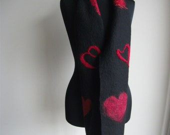 Black and red merino wool wet felted embellished scarf 'Love'