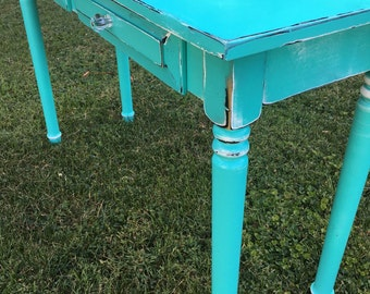 Computer desk,  entry table, turquoise, shabby chic, turned legs FREE SHIPPING