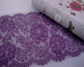 "1, 3 or 5 Yards 10"" Wide Mulberry Wine Floral Trim Eyelash Victorian Style Purple Scalloped Lace for Lingerie or Runners FJT2"