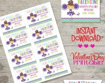 Valentine Cheerleader - Printable Valentine's Day Cards - INSTANT DOWNLOAD