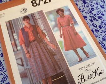 Simplicity Pattern 8727, skirt pattern, vest pattern, blouse pattern,  70's butte knit  pattern