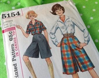 Simplicity Pattern 5154, culottes pattern,  size 11 pattern, 60's pattern