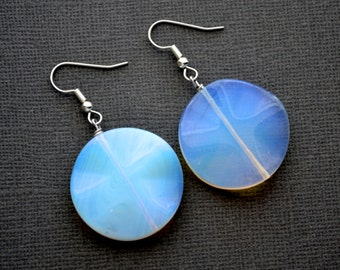 Sea Opal Rounds . Opalite . Earrings