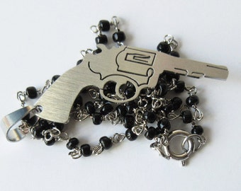 Gun Necklace Black Rosary Chain with Revolver Pendant Necklace