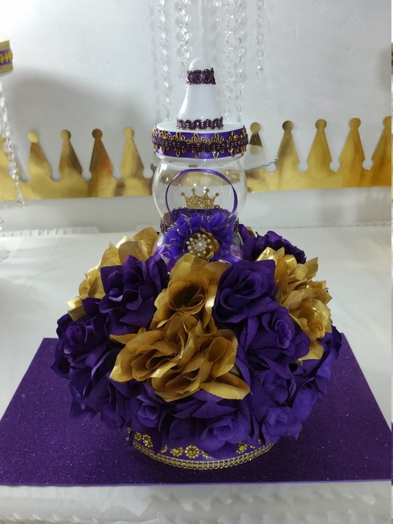 baby shower royal purple gold centerpiece royal baby shower themes