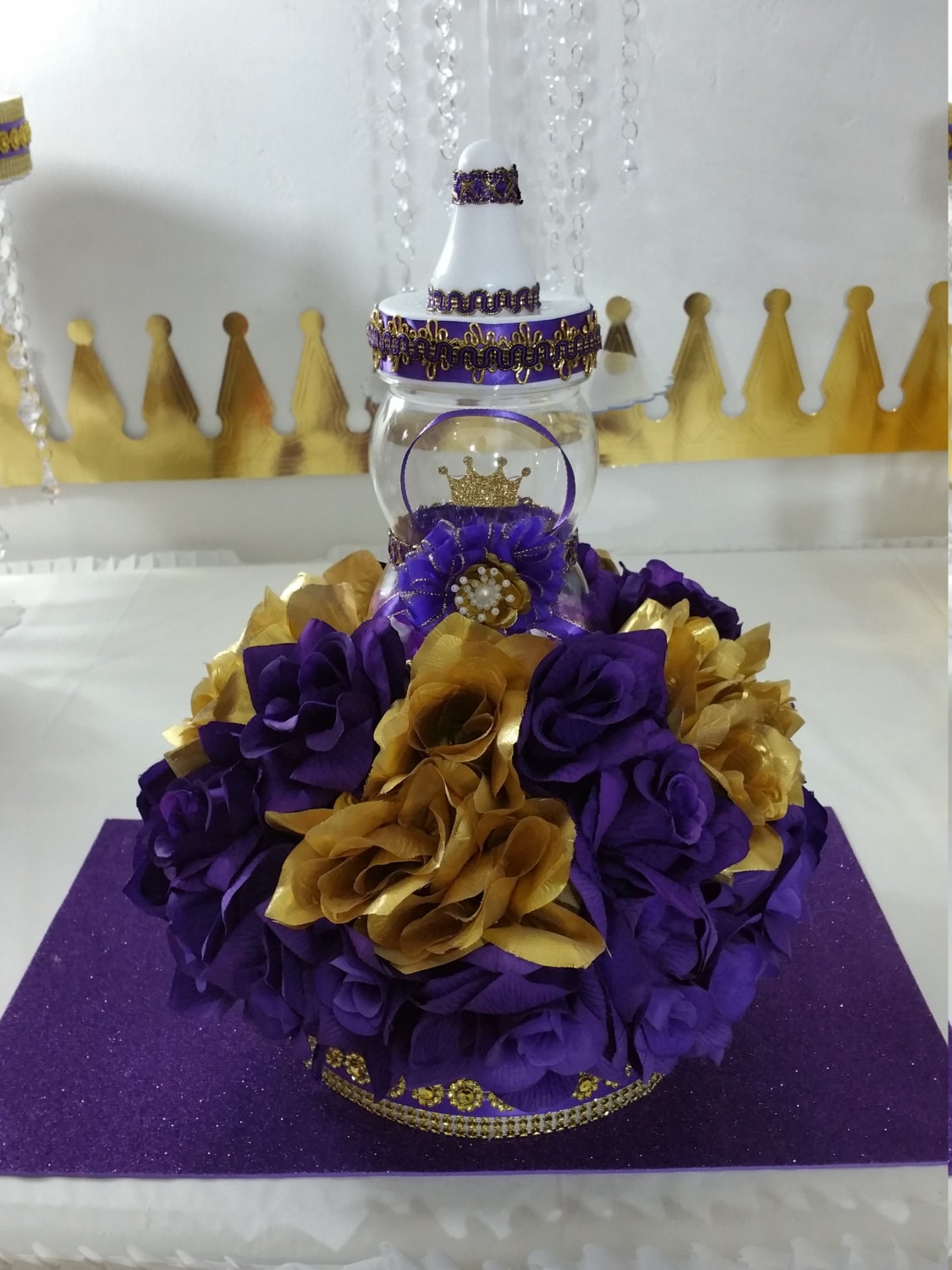 Prince Baby Shower Flower Centerpiece For Royal Baby Shower