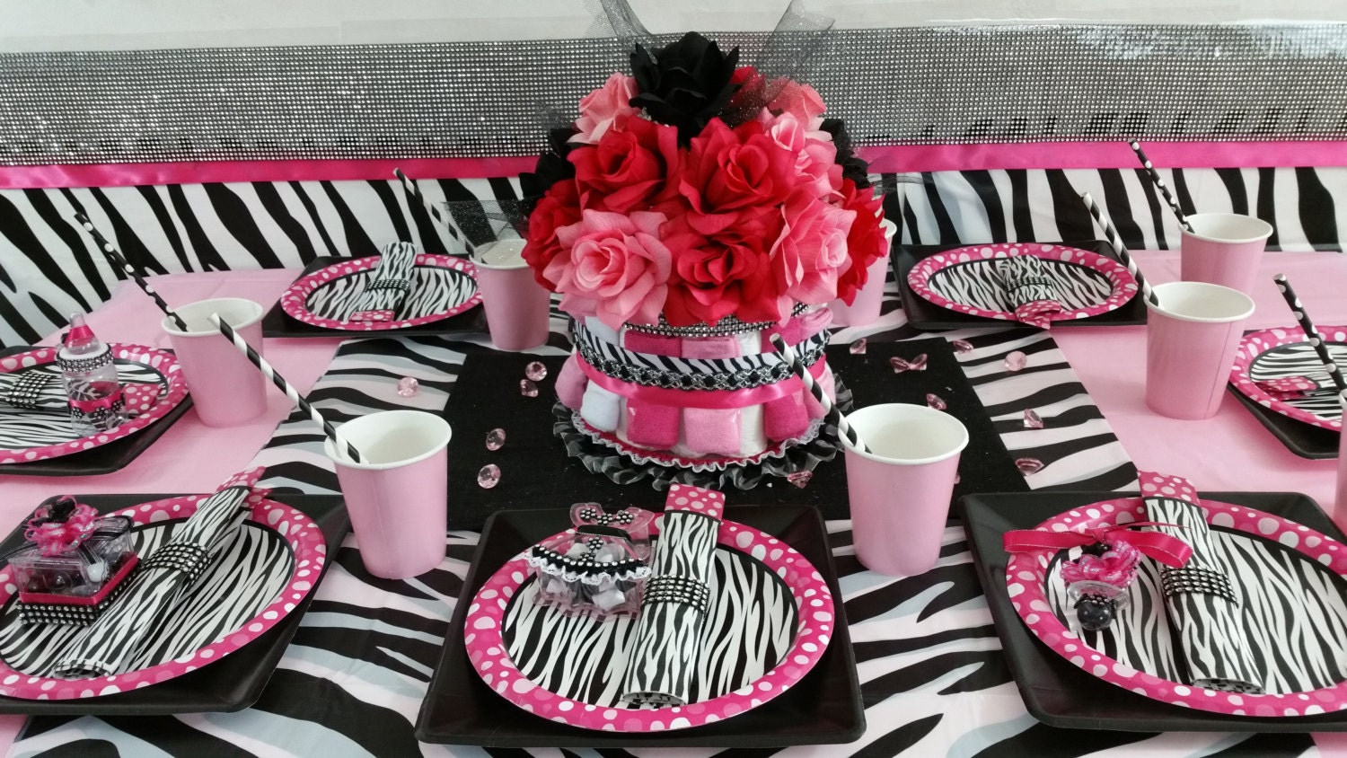 Diaper cake centerpiece hot pink and black by