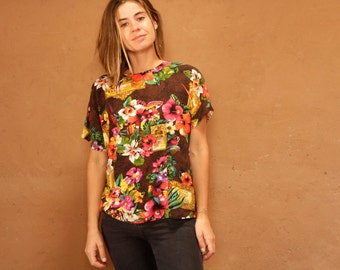 HAWAIIAN vintage shirt FLORAL slouchy short sleeve