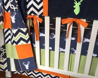 Crib Bedding. Baby Bedding. Boy Crib Set. Navy and Orange Nursery. Deer Fitted Sheet. Modern Baby Blanket. Rail Cover. Boy Bedding Set.