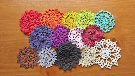 14 Hand Dyed Vintage Doilies, Rainbow of Colors, 2 to 3 inch Small Craft Doilies