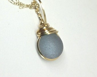 Genuine Sea Glass Necklace 14kt Gold Filled Jewelry Wire Wrapped Grey Orb