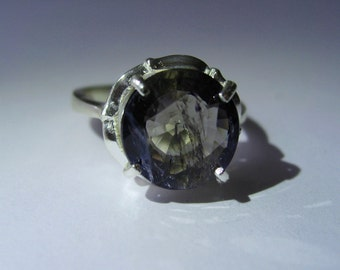 Natural Bi-color Iolite  In Sterling Silver Ring, 3.83ct. Size 8.25