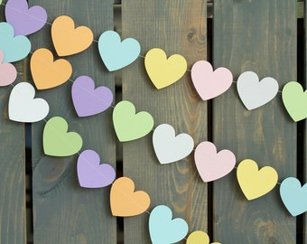Valentine's Day Pastel Conversation Candy Hearts Sewn Paper Garland - Home Decor, Baby / Bridal Shower, Party Banner, Photo Backdrop