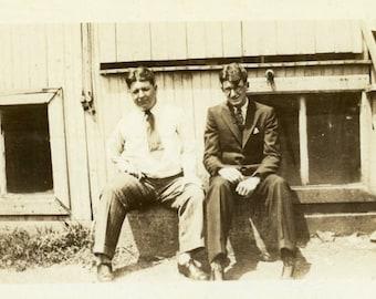 "Vintage Photo ""Business Partners"" Wearing Glasses Snapshot Photo Old Antique Photo Black & White Photograph Found Photo Paper Ephemera - 192"