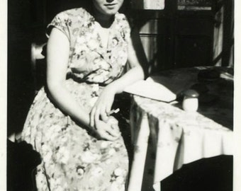 "Vintage Photo ""The Morning Blues"" Women Snapshot Photo Old Antique Photo Black & White Photograph Found Photo Paper Ephemera Vernacular - 55"