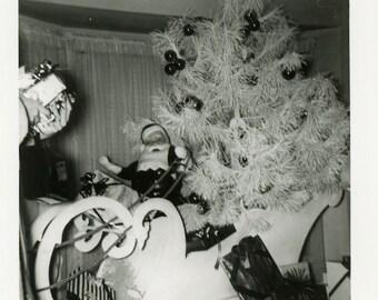 "Vintage Photo ""Santa is Here"" Snapshot Antique Photo Black & White Photograph Found Paper Ephemera Vernacular - 102"