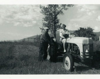 "Vintage Photo ""Loving Their Farm Life"" Driving Tractor Snapshot Old Photo Black & White Photograph Found Paper Ephemera Vernacular - 111"