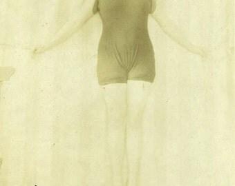 "Vintage Real Photo Postcard ""Swimsuit Model"" Girl Bathing Suit Antique RPPC Photo Black & White Photograph Paper Ephemera Vernacular - 145"