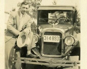 "Vintage Photo ""The Car Salesman"" Man Classic Auto Snapshot Old Antique Photo Black & White Photograph Found Paper Ephemera Vernacular - 46"