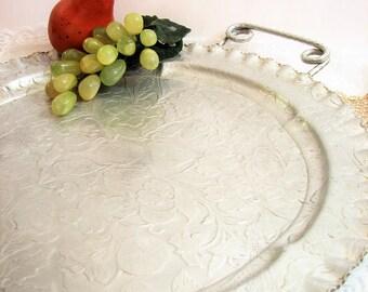 "Vintage Aluminum Handled Round Serving Tray, Large 16"" Tray ... Fruit & Flowers, Hand Finished Aluminum, Crimped Edge, Shaped Loop Handles"