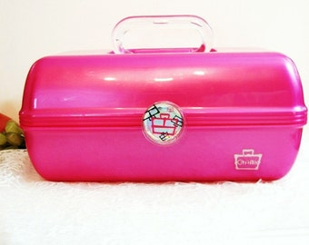 Caboodles Make-up Case, Hot Pink Translucent, Large 2622 Vintage Cosmetics Organizer Tote, First Aid Kit, Sewing Box, Gift for Her