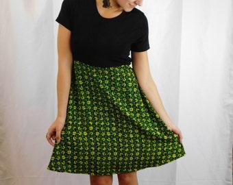 90's Club Kid Raver Dress Neon Floral Daisy Print Dress Baby Doll Dress