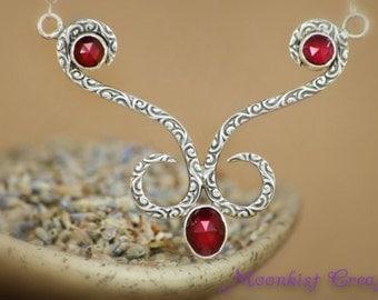 Garnet Silver Bridal Statement Necklace - Silver Swirl Pattern and Garnet Bib Necklace - January Birthstone Necklace - Red Bridal Necklace