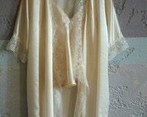Cream silk pajama top,nightgown with dainty lace trim, everyday luxury, Valentine's day, wedding sleepwear,