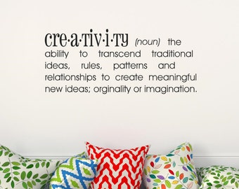 Creativity Definition Vinyl Lettering Wall Decal Wall Words Vinyl Wall Art Craft Room Decor