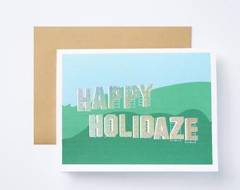 Happy Holidaze Holographic Foil Greeting Card - Set of 5