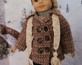 Pea Coat, Knit Hat and Scarf, Boucle Coat,  Wool Coat, 18 inch  Doll Clothes