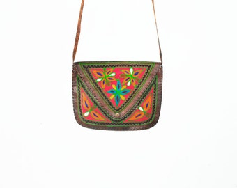 Embroidered India Leather Bag, Ethnic Cross Body Bag , Mini Festival Bag
