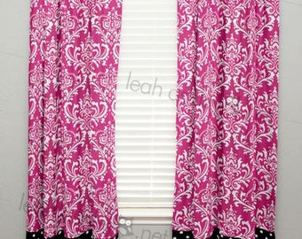 Curtain Panel with Banding - Hot Pink Damask, Black Polka Dot - Olivia7 - C2