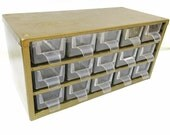 RESERVED for Laurie  Vintage Storage Organizer,  Metal Box with Drawers, Small Parts Cabinet, Metal Chest, 15 Plastic Bins