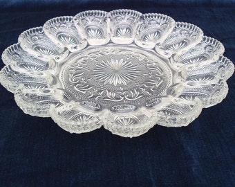Vintage Deviled Egg Platter / Egg Tray / Sandwich Glass Plate - Starburst Glass