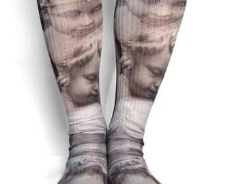 Cherub socks / creepy clothing / crew socks / dark clothing / goth / gothic / memento mori / momento mori / dark mori / graveyard socks