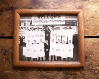 Vintage Framed Butcher Shop Group Photograph