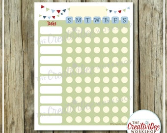 NOW EDITABLE! Chore Chart | Responsibility Chart | Blue Theme | Vertical Chore Chart | Sunday to Saturday | Printable Weekly Chart