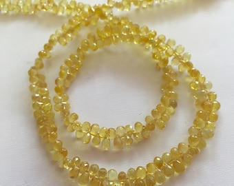 Yellow Sapphire Faceted Briolettes-Graduated