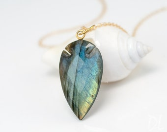 Labradorite Necklace - Arrowhead Pendant - Boho Chic Jewelry - Gold Necklace - Layering Necklace - Stone Pendant - Gift for Her