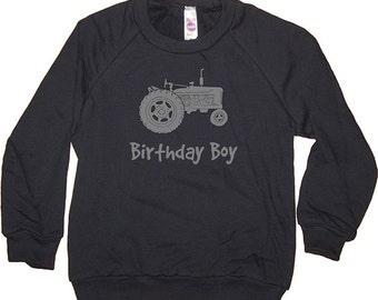 Birthday Shirt - Kids Sweatshirt Tractor Farming Farmer Farm Birthday Boy Long Sleeved Navy Blue - Birthday - Fleece - 2T, 8, 10, 12
