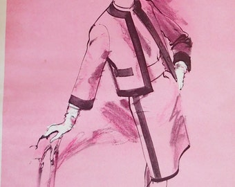 Vintage Fashion Sketch, Magazine Print Ad, 60s Style Dress Suit, Freehand  Clothing  Illustration, Pink Salon Bedroom Wall Art
